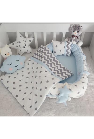 Bebekatölyesi Beyaz Yıldız Mavi Kombin Babynest 5'li Set