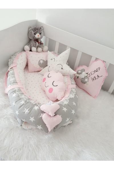 Bebekatölyesi Büyük Gri Yıldızlar Pembe Kombin Babynest 5'li Set