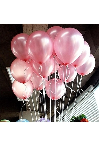 Parti Dolabı 20 Adet Metalik Şeker Pembe Balon Doğum Günü Helyumla Uçan