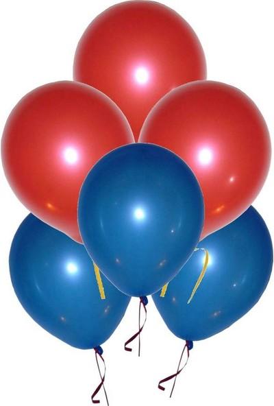Parti Dolabı 25 Adet Metalik (Lacivert-Kırmızı) Karışık Balon Helyumla Uçan