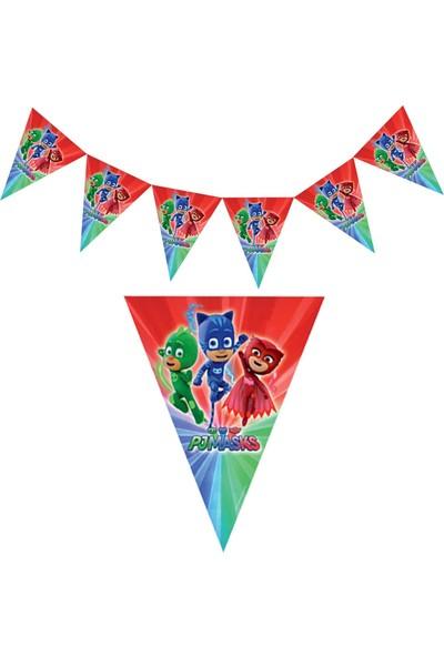 Parti Dolabı 1 Adet Pijamaskeliler Flama Pj Maskeliler Doğum Günü Bayrak Süs