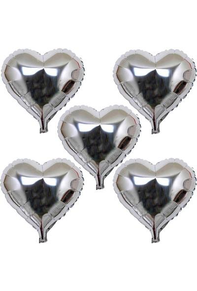 Parti Dolabı 5 Ad Gümüş Gri Folyo Kalpli Balon 60Cm Helyumla Uçan Sevgiliye
