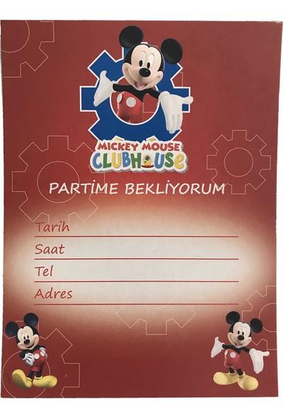 Parti Dolabı 10 Adet Kırmızı Mickey Mouse Davetiye Doğum Günü Erkek Partisi