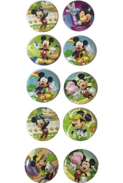 Parti Dolabı 10 Adet Mickey Mouse Rozet Hediyelik Erkek Parti Malzemeleri