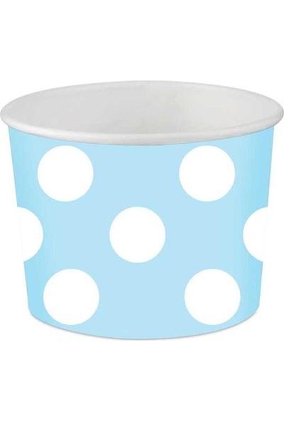 Parti Dolabı 8 Adet Karton Beyaz Puantiyeli Mavi Kase Benekli Küçük 6X7Cm