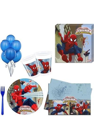 Parti Dolabı Spiderman Partisi Örümcek Adam Doğumgünü 24 Kişilik 12 Parça