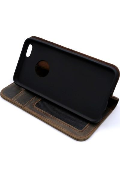 Weoze iPhone 6 6S Kılıf Weoze Kapaklı Deri Cüzdan 3 Kartvizit 1 Para Bölmeli Toprak