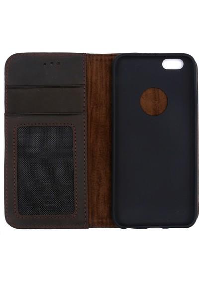 Weoze iPhone 6 6S Kılıf Weoze Kapaklı Deri Cüzdan 3 Kartvizit 1 Para Bölmeli Koyu Kahve