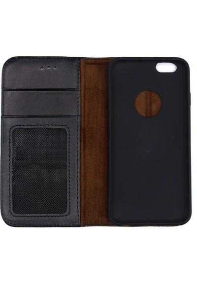 Weoze iPhone 6 6S Kılıf Weoze Kapaklı Deri Cüzdan 3 Kartvizit 1 Para Bölmeli Siyah