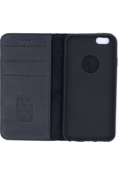 Weoze iPhone 6 6S Kılıf Weoze Kapaklı Deri Cüzdan 3 Kartvizit 1 Para Bölmeli Lacivert