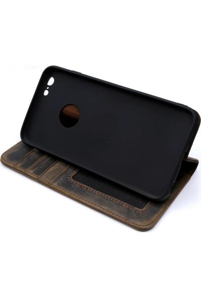 Weoze iPhone 6 Plus Kılıf Weoze Kapaklı Deri Cüzdan Kartvizit Para Bölmeli Toprak