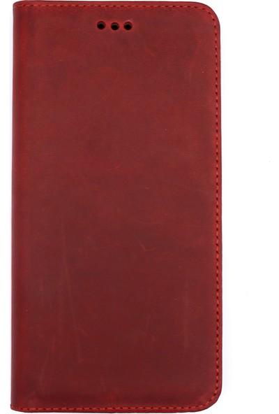 Weoze iPhone 6 Plus Kılıf Weoze Kapaklı Deri Cüzdan Kartvizit Para Bölmeli Kırmızı