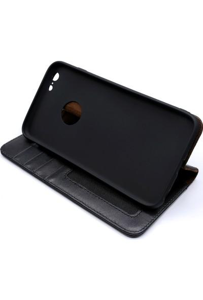 Weoze iPhone 6 Plus Kılıf Weoze Kapaklı Deri Cüzdan Kartvizit Para Bölmeli Siyah