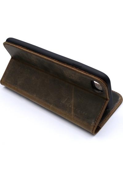 Weoze iPhone 7 Kılıf Weoze Kapaklı Deri Cüzdan Kartvizit Para Bölmeli Toprak