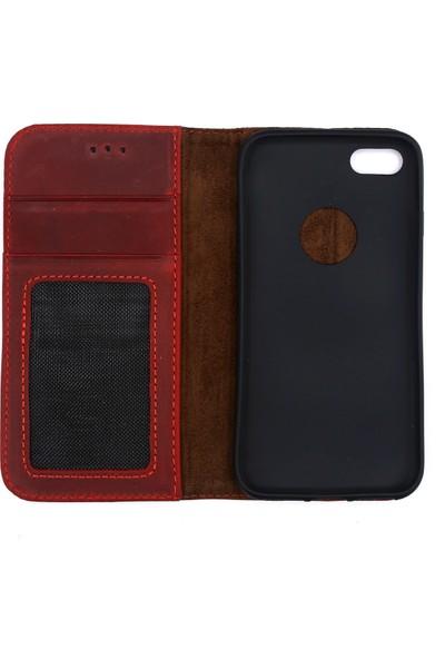 Weoze iPhone 7 Kılıf Weoze Kapaklı Deri Cüzdan Kartvizit Para Bölmeli Kırmızı