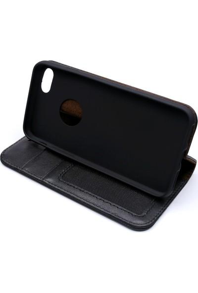 Weoze iPhone 7 Kılıf Weoze Kapaklı Deri Cüzdan Kartvizit Para Bölmeli Siyah