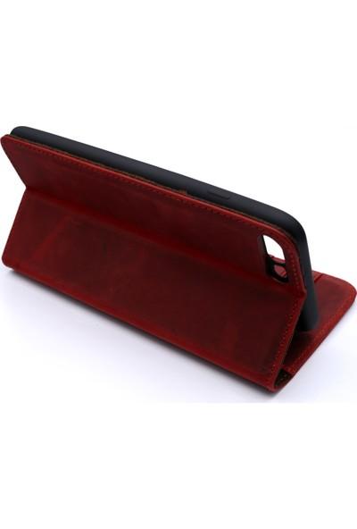 Weoze iPhone 7 Plus Kılıf Weoze Kapaklı Deri Cüzdan Kartvizit Para Bölmeli Kırmızı