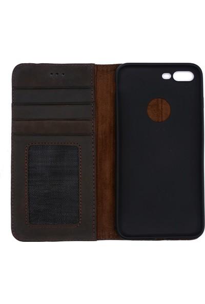 Weoze iPhone 7 Plus Kılıf Weoze Kapaklı Deri Cüzdan Kartvizit Para Bölmeli Koyu Kahve