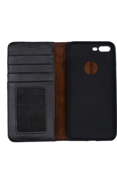 Weoze iPhone 7 Plus Kılıf Weoze Kapaklı Deri Cüzdan Kartvizit Para Bölmeli Siyah
