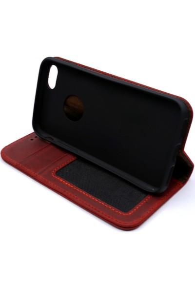 Weoze iPhone 8 Kılıf Weoze Kapaklı Deri Cüzdan Kartvizit Para Bölmeli Kırmızı