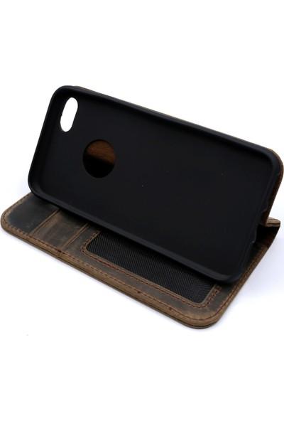 Weoze iPhone 8 Kılıf Weoze Kapaklı Deri Cüzdan Kartvizit Para Bölmeli Koyu Kahve