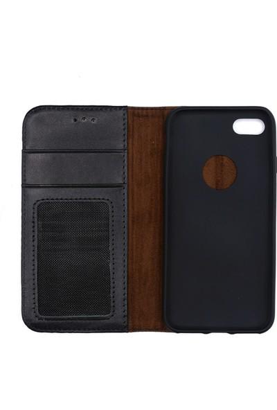 Weoze iPhone 8 Kılıf Weoze Kapaklı Deri Cüzdan Kartvizit Para Bölmeli Siyah
