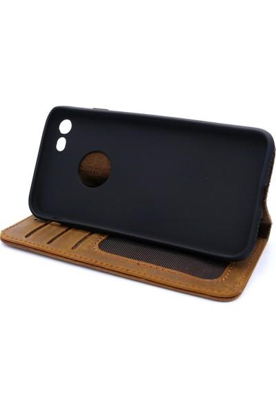 Weoze iPhone 8 Kılıf Weoze Kapaklı Deri Cüzdan Kartvizit Para Bölmeli Açık Kahve