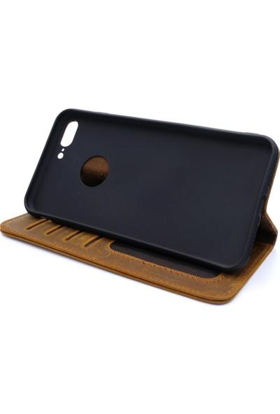 Weoze iPhone 8 Plus Kılıf Weoze Kapaklı Deri Cüzdan Kartvizit Para Bölmeli Açık Kahve