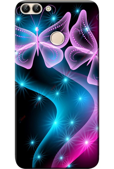 Kılıf Merkezi Huawei Honor 9 Lite Kılıf LLD-L31 Silikon Baskılı Kelebek Dalga STK:113