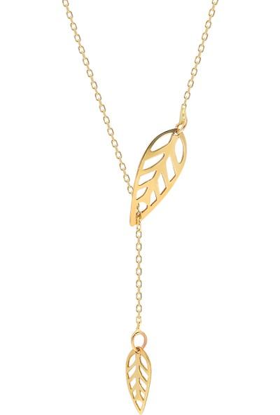 Glorria Altın Yaprak Kolye Sv0061