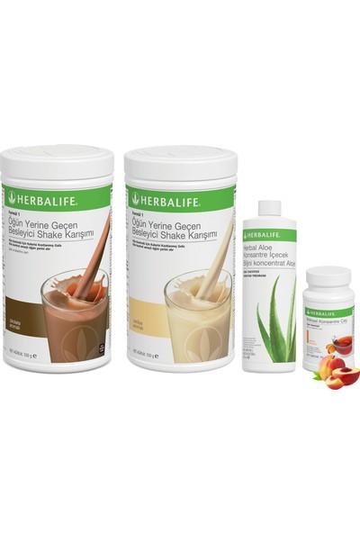Herbalife Shake Karışımı 1 Vanilya 1 Çikolata Aloe Vera 1 Şeftali Çay