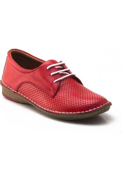 Yeşil Kundura P1005 Kırmızı Kadın Ayakkabı
