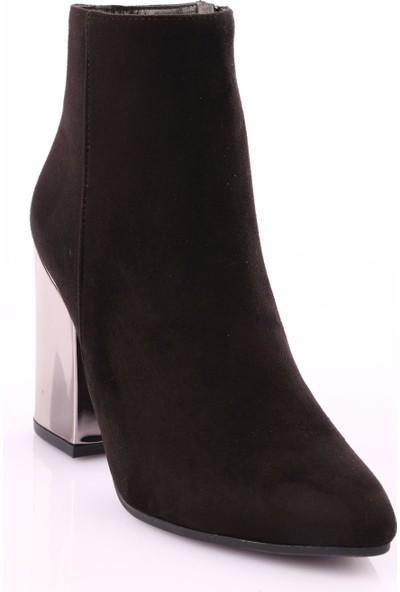 Dgn 012 Kadın Sivri Burun Topuklu Bilek Bot Siyah Süet Platin