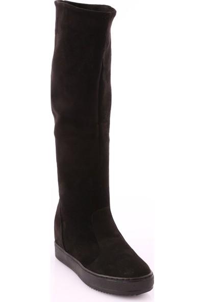 Dgn K250 Kadın Gizli Dolgu Taban Bot And Knee Hıght Çizme Siyah Süet
