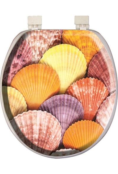Softy Classic Süngerli Klozet Kapağı Renkli Deniz Kabuğu Desen 3020