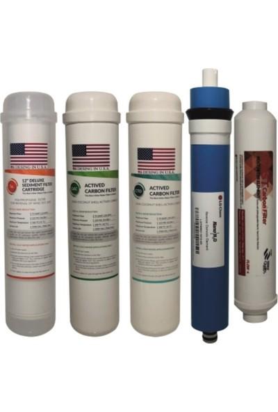 Oscarwater 12'' İnç İnline Kapalı Kasa Su Arıtma Takım Filtre Seti 5' Li
