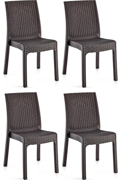 Holiday Deluxe Kolsuz Rattan Koltuk Sandalye 4 Adet Kahverengi H441