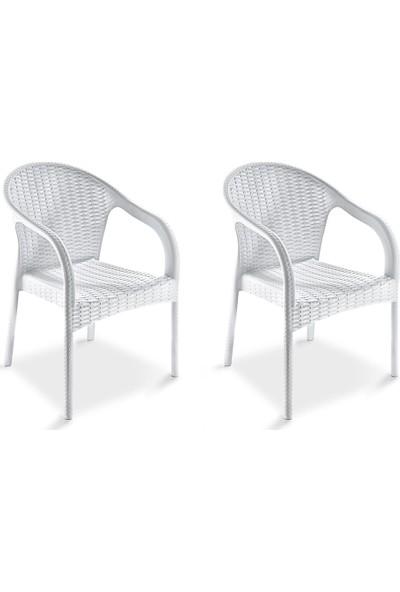 Holiday Ege Kollu Rattan Koltuk Sandalye 2 Adet Beyaz H242
