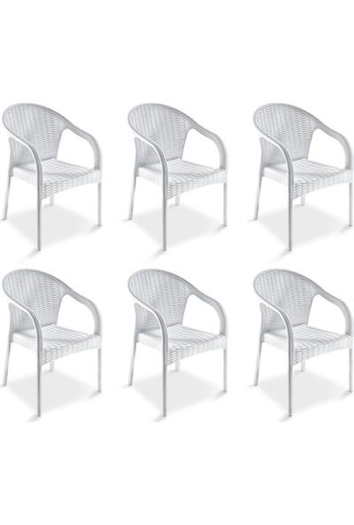 Holiday Ege Kollu Rattan Koltuk Sandalye 6 Adet Beyaz H642