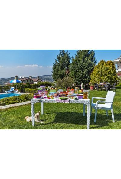 Holiday Pamukkale 80X140 Camlı Rattan Masa Beyaz H133