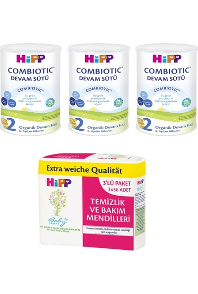 Hipp 2 Organik Combiotic Devam Sütü 350 gr 3 Adet Ve Hipp Temizlik Ve Bakım Mendilleri