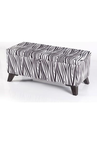 Armi Puf Zebra Desenli Sandıklı Puf Amortisörlü