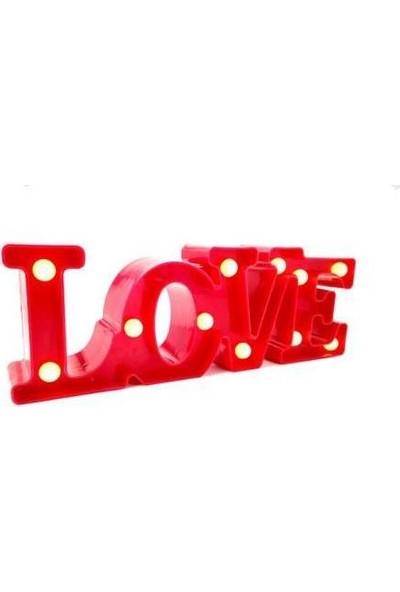 Dizayn Hediye Led Işıklı Love Oda Lambası Kırmızı
