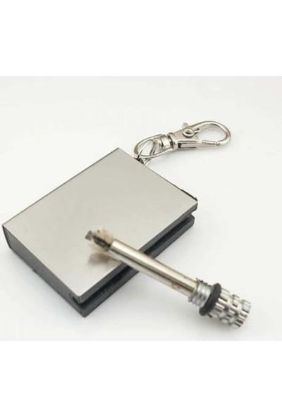 Dizayn Hediye Benzinli Çakmak Zippo Benziniyle Çalışan Çakmağı Gazlı Metal Kibrit Magnezyum Çubuğu Anahtarlık