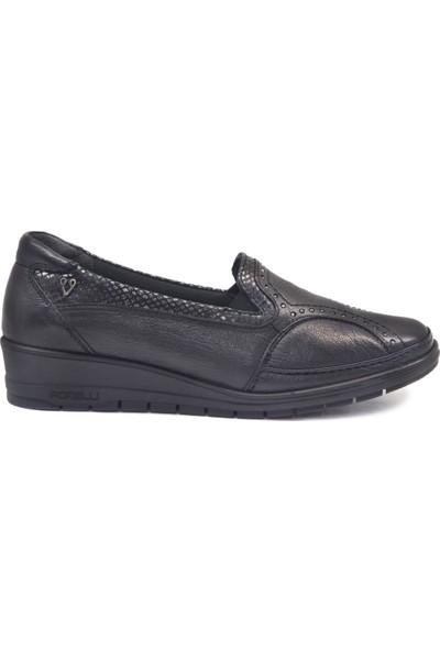 Forelli 25109 Kadın Siyah Deri Halluks Comfort Ayakkabı