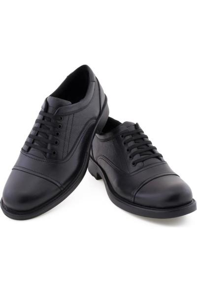 Libano Siyah Parçalı Dikiş Detaylı Bağcıklı Erkek Ayakkabı