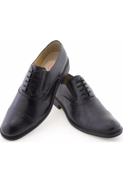 Özcoşkun Siyah Katlamalı Bağcıklı Lastikli Klasik Erkek Ayakkabı
