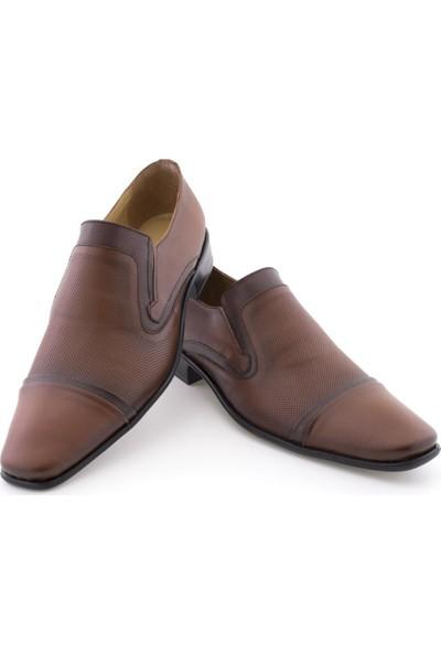 Özcoşkun Taba Kahverengi Şeritli Lazer İşlemeli Klasik Erkek Ayakkabı