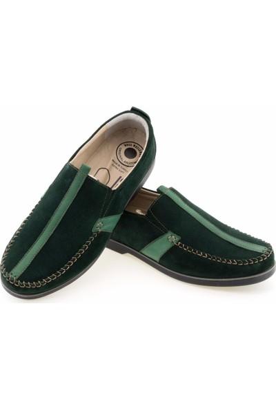 Güvenal Yeşil Süet Baskılı Saraçlı Lastikli Günlük Erkek Ayakkabı