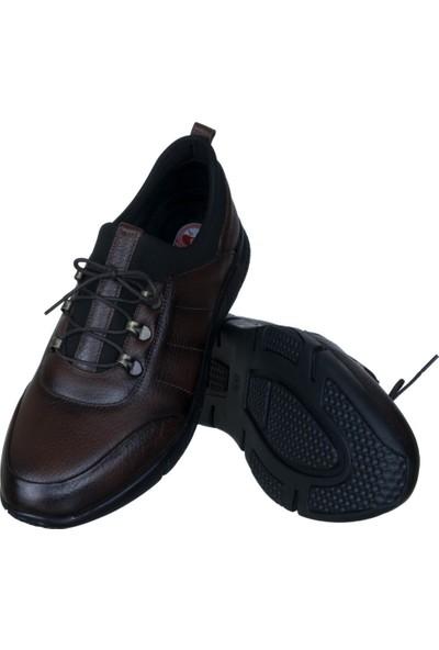 Libano Kahverengi Siyah Dikiş Motifli Neoprenli Bağcıklı Erkek Ayakkabı